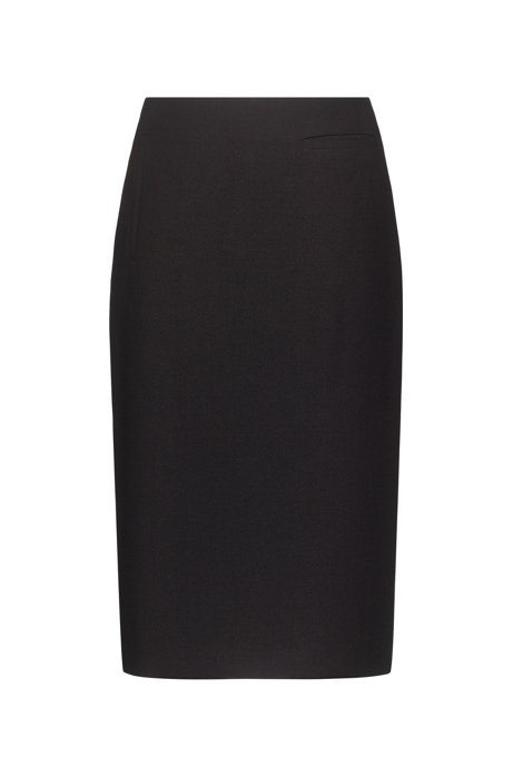Stretch-fabric pencil skirt with piped pockets, Black