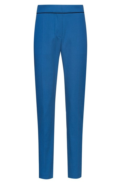 Slim-leg cropped trousers in a structured cotton blend, Blue