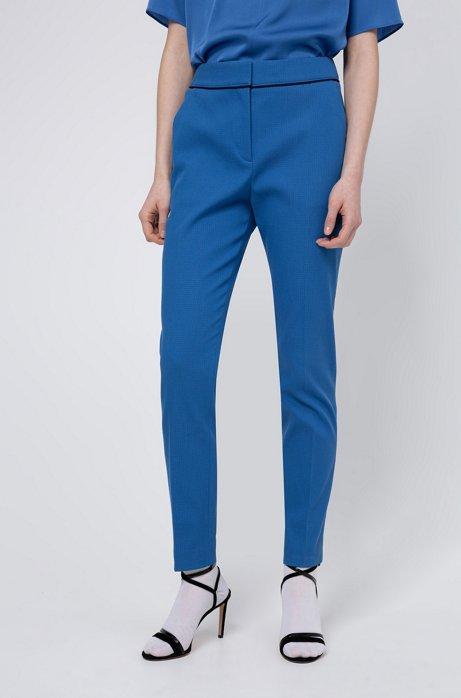 Pantalon court en coton mélangé structuré, Bleu