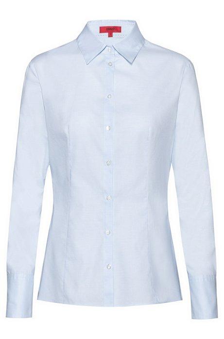 Blusa slim fit de algodón de tejido dobby con cuello de pico, Celeste