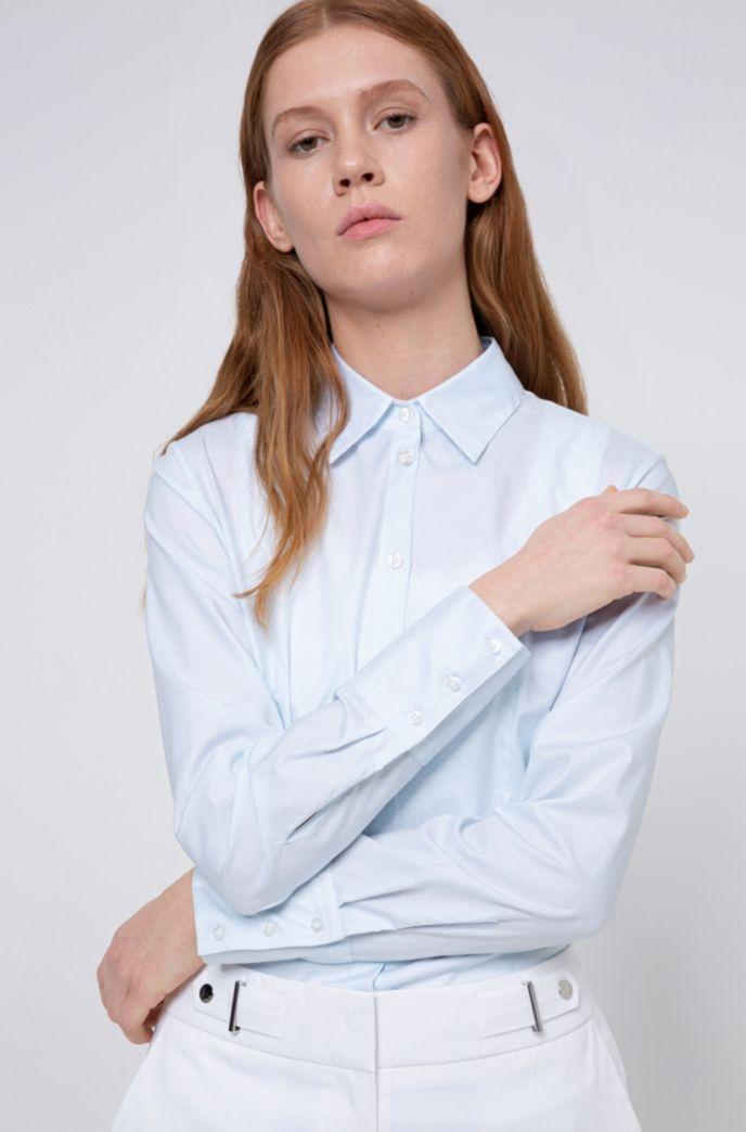 Camicetta slim fit in cotone dobby con colletto a punta