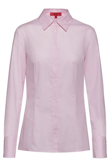 Slim-fit blouse in dobby cotton with point collar, light pink