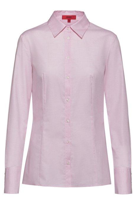 Slim-fit blouse van dobbykatoen met puntkraag, Lichtroze