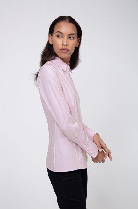Camicetta slim fit in cotone dobby con colletto a punta, Rosa chiaro