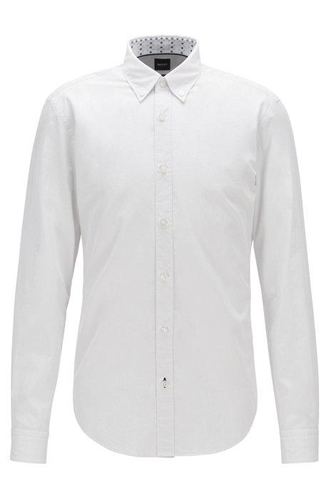 Camisa con botones slim fit de dobby de algodón, Natural