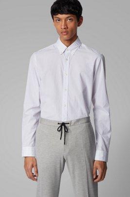 Camicia slim fit button-down in cotone dobby, Bianco