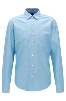 Slim-fit shirt in dobby cotton with contrast trims, Turquoise