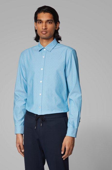Chemise Slim Fit en coton façonné à finitions contrastantes, Turquoise