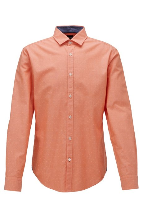 Slim-fit shirt in dobby cotton with contrast trims, Orange