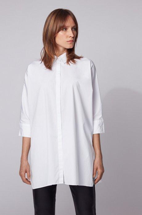Oversized Bluse aus Baumwoll-Popeline im Kimono-Stil, Weiß