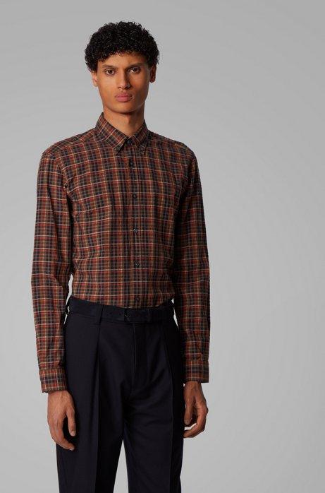 Chemise Slim Fit à carreaux en coton Oxford, Marron foncé