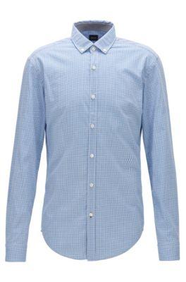 Slim-Fit Hemd mit strukturiertem Vichy-Karo, Blau