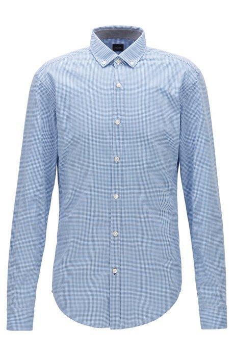 Slim-fit overhemd in een gestructureerde vichyruit, Blauw