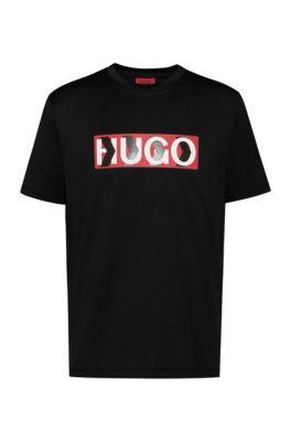 T-shirt van katoen met logo gemengd met een chevronprint, Zwart