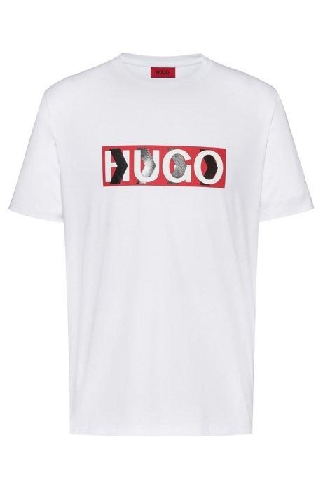 Cotton T-shirt with chevron-print logo, White