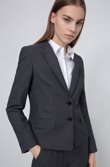 Regular-fit jacket in a patterned stretch-cotton blend, Black