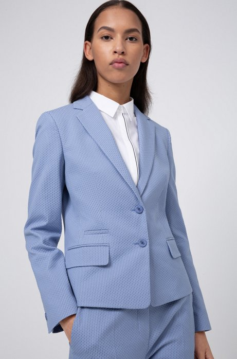 Veste Regular Fit en coton stretch mélangé à motif, Bleu vif