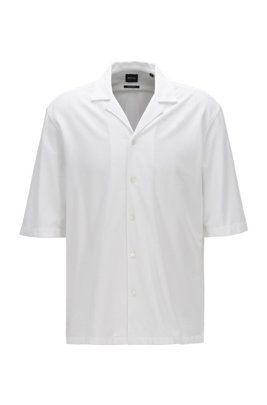 Cotton regular-fit shirt with camp collar, ホワイト