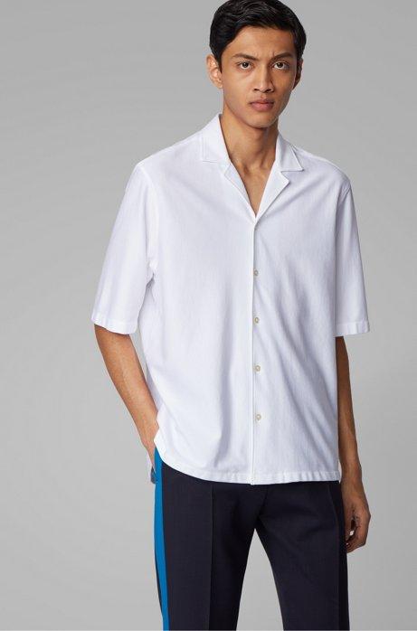 Regular-fit overhemd van katoen met een campkraag, Wit