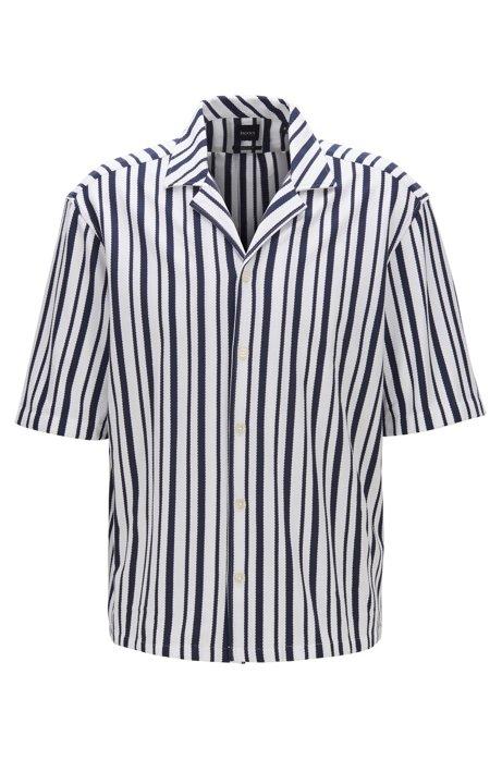Camisa regular fit de algodón con cuello cubano, Azul oscuro