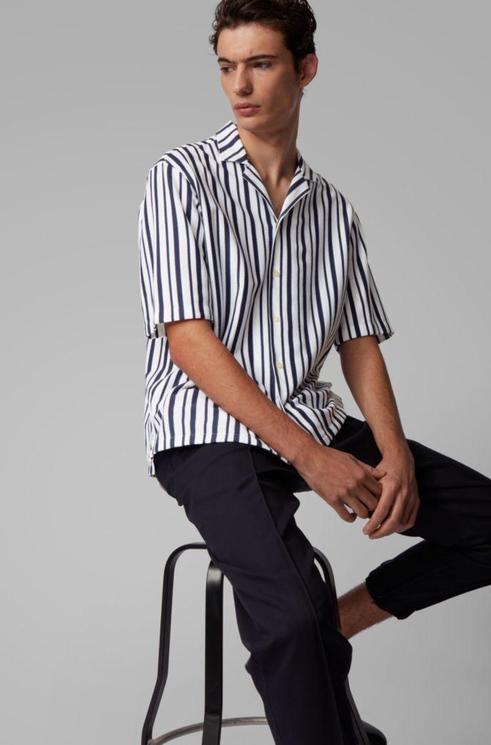 Chemise Regular Fit en coton à col évasé