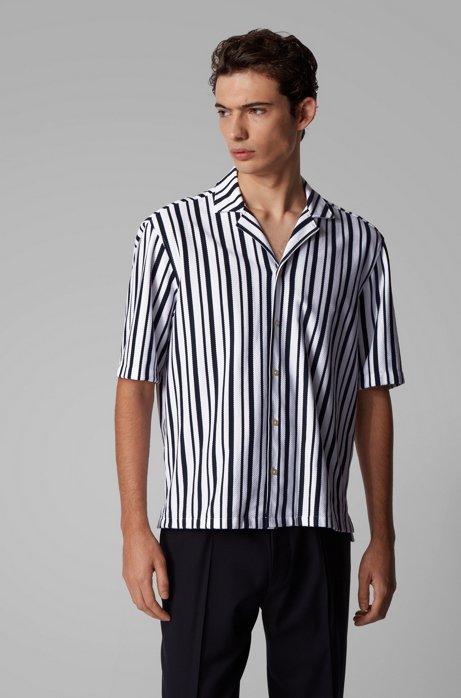 Regular-Fit Hemd aus Baumwolle mit Freizeitkragen, Dunkelblau