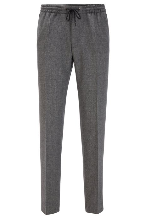 Slim-fit trousers in virgin wool with drawstring waist, Grey