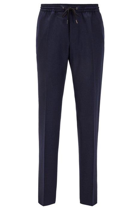 Pantalones slim fit en lana virgen con cintura con cordón, Azul oscuro