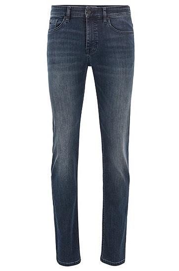 男士超弹深蓝色牛仔布修身牛仔裤,  407_暗蓝色