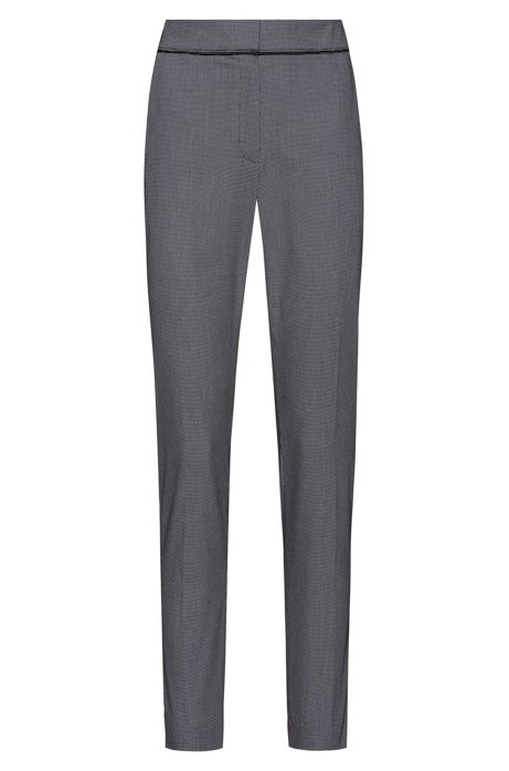 Slim-leg cropped trousers in a patterned cotton blend, Patterned