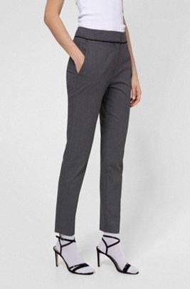 Pantalon slim court, en coton mélangé à motif, Fantaisie