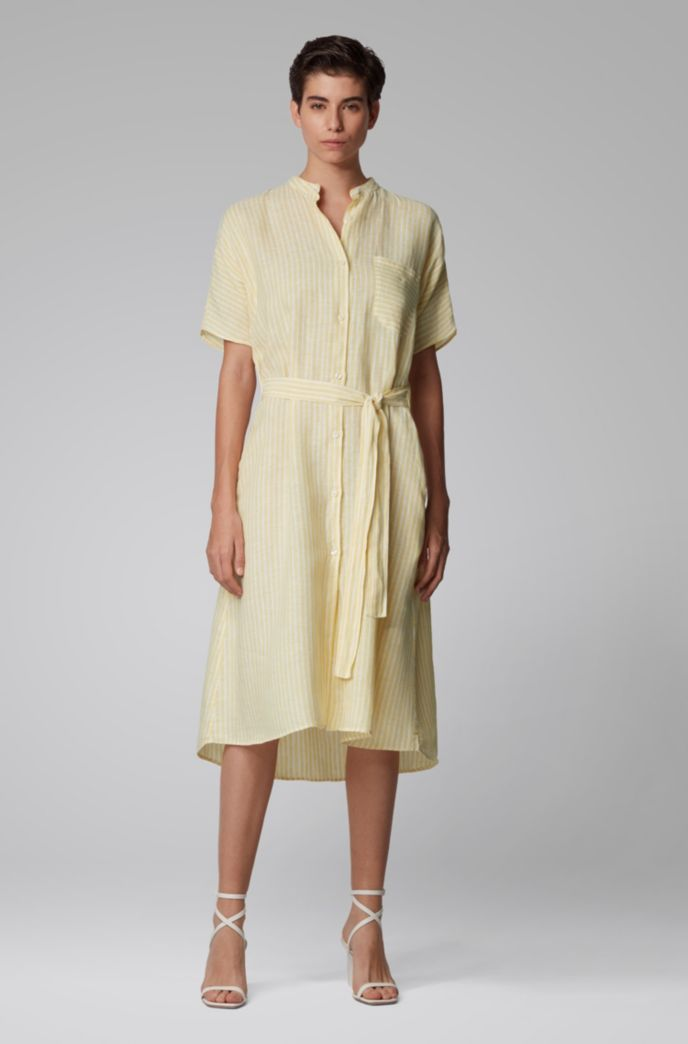 Robe-chemise en coton mélangé à du lin, à rayures
