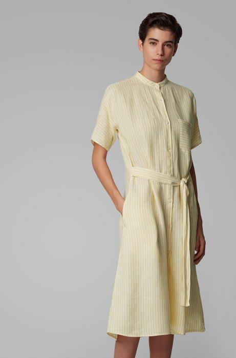 Robe-chemise en coton mélangé à du lin, à rayures, Jaune