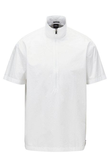 Chemise Regular Fit en popeline de coton à col zippé, Blanc