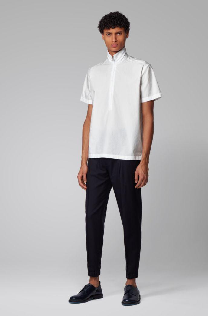 Regular-Fit Hemd aus Baumwoll-Popeline mit Troyerkragen
