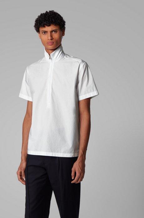 Regular-fit overhemd van katoenen popeline met kraag met rits, Wit