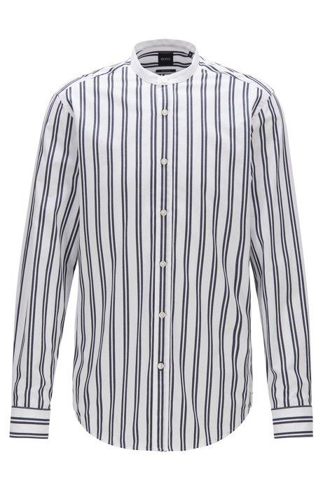 Camicia regular fit in cotone con motivo a righe esclusivo, Blu scuro