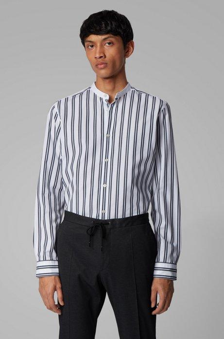 Regular-fit overhemd van katoen met exclusieve streep, Donkerblauw
