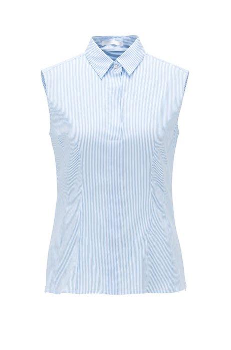 Mouwloze regular-fit blouse van een katoenmix, Lichtblauw