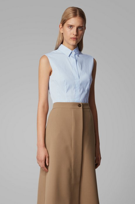 Sleeveless regular-fit blouse in a cotton blend, Light Blue