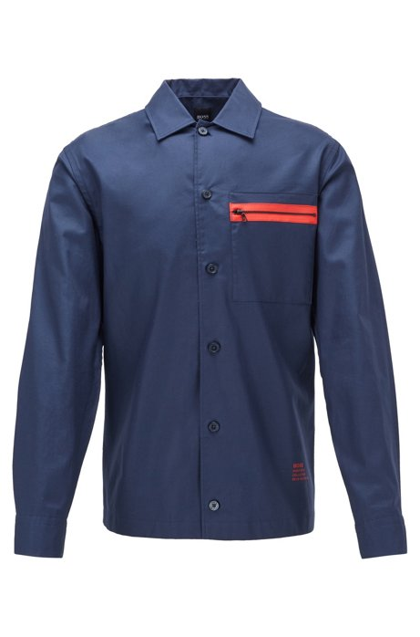 Relaxed-fit overhemd in een twill van katoen met ritszak, Donkerblauw