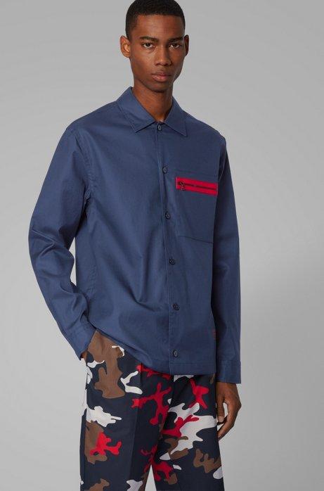 Surchemise Relaxed Fit en twill de coton avec poche zippée, Bleu foncé