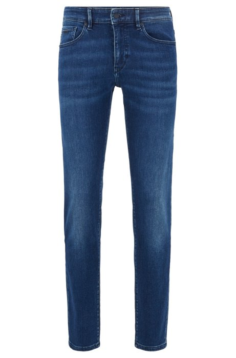 Skinny-fit jeans in dark-blue super-stretch denim, Blue