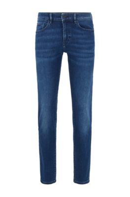 Skinny-fit jeans in dark-blue super-stretch denim, Blue
