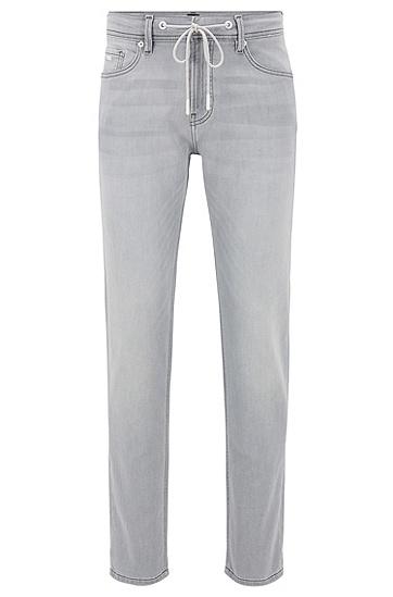 男士灰色抽绳锥形牛仔裤,  050_浅灰色