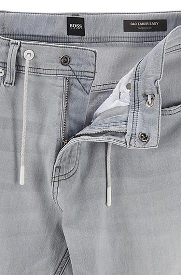 男士灰色针织牛仔面料抽绳锥形牛仔裤,  050_浅灰色