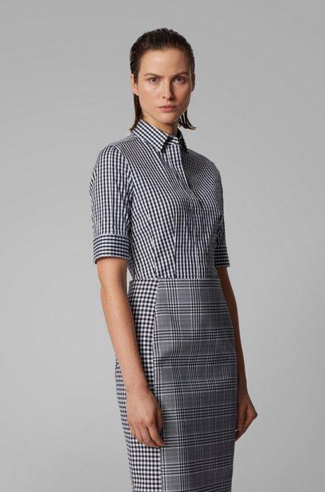 Gemusterte Slim-Fit Bluse aus elastischem Baumwoll-Mix, Gemustert