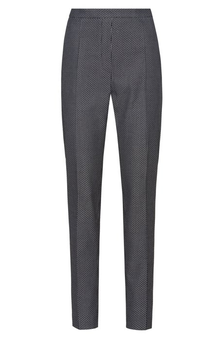 Slim-leg trousers in a patterned stretch-cotton blend, Black