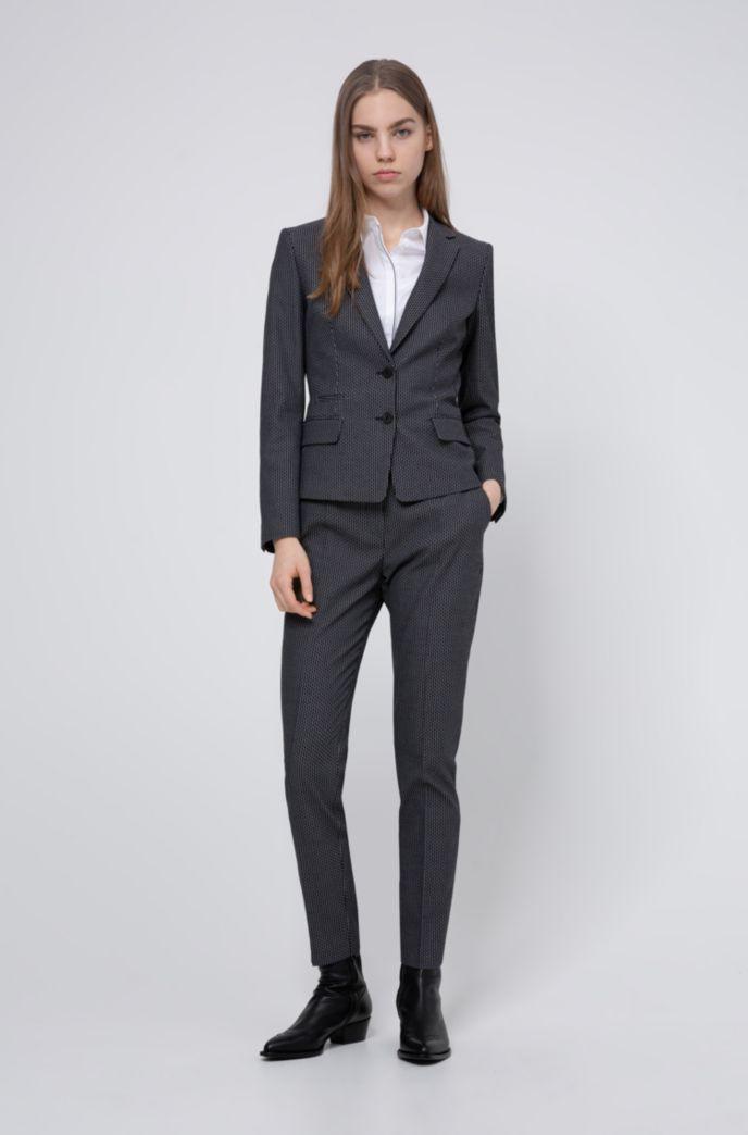 Pantalon à jambes slim en coton mélangé stretch à motif