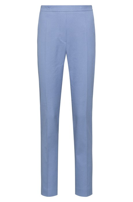 Slim-leg trousers in a patterned stretch-cotton blend, Light Blue